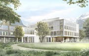 Aussenansicht des künftigen Kantonsspital Uri von der Spitalstrasse aus gesehen. (Bild: PD)