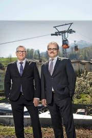 Zufriedene Gesichter bei den Pilatus-Bahnen: CEO Godi Koch (links) und Verwaltungsratspräsident Bruno Thürig. (Bild Dominik Wunderli)