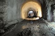 Der 100 Meter lange Tunnel wird nach Fertigstellung die Hotels Frutt Lodge & Spa, Hotel Frutt Family Lodge und Hotel Gemsy verbinden. (Bild: Philipp Unterschütz / Neue OZ)