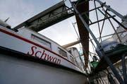 Die MS Schwan wird restauriert nachdem das Schiff im August bei einem Unwetter im Zuger Hafen gesunken ist. (Bild: Stefan Kaiser / Neue ZZ)