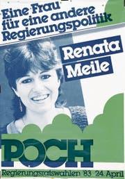 Abstimmungsplakat der Grünen und ein Wahlkampfplakat von Renata Meile als Mitglied der Progressiven Organisationen (Poch). Aus diesen entsprangen 1987 die Grünen Luzern.