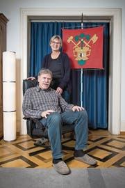 Fritschivater Alfred Meier und Ehefrau Rita bei sich zu Hause in Luzern. (Bild: Boris Bürgisser (23. Januar 2018))
