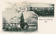 Postkarte «Gruss vom Rosenberg», ab 1907: Der «Rosenberg» war regelmässiger Tagungsort des Zuger kantonalen landwirtschaftlichen Vereins und genoss als Zentrum für schweizerische Bienenzucht landesweite Bedeutung. Bild: Bibliothek Zug (Bild: Bibliothek Zug)