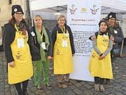 Gaby Hauser-Zemp (Präsident Schweizer Tafel) mit Esther Thalmann, Yvonne Honermann, Gabriella Eichmann. (Bild: Mario Merola)