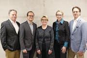 Von links: Josef Ribary, Fridolin Bossard, Gabriela Ingold, Sussi Hodel und Markus Spörri. (Bild: Cornelia Bisch (Unterägeri, 20. März 2018))