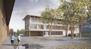 Die Schulraumplanung ist ein grosses Thema: hier eine Visualisierung des Neubaus an der Meierskappelerstrasse in Rotkreuz. (Bild: PD)