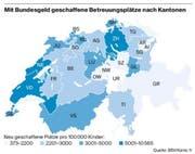 Mit Bundesgeld geschaffene Betreuungsplätze nach Kantonen. (Bild: Quelle: BSV / Karte: fr)
