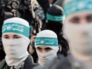 Kämpfer der radikalislamischen Hamas im Gazastreifen. (Bild: Mohammed Saber/EPA (Gaza, 27. August 2015))