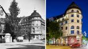 Aussenansicht des Volkshauses von damals und wie es heute aussieht. (Bild: Archiv und Emanuel Ammon / Aura)