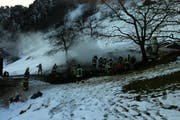 Die Brandstelle in Gersau. (Bild: Kantonspolizei Schwyz)