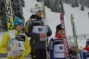 Justin Rok aus Slowenien gewinnt vor Bartomiej Klusek aus Polen und dem Norweger Tom Hilde am Samstag in Engelberg. (Bild: PD)