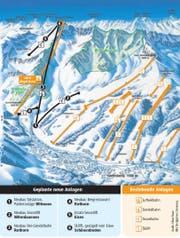 Ausbau des Skigebietes Sörenberg: das ist geplant. (Bild: Grafik Oliver Marx)
