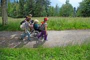 Ueli Bütikofer ist MS-Patient. In professioneller Begleitung genoss er am gestrigen Sonnentag den rollstuhlgängigen Wanderweg auf der Rigi. (Bild Nadia Schärli)