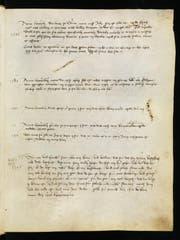 Fol. 22r des ältesten Bürgerbuchs der Stadt Luzern, COD 3655, mit der ersten Erwähnung der Schlacht bei Sempach 1386 (oberster Eintrag) (Bild: Staatsarchiv Luzern)