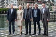 Nun ist der Luzerner Stadtrat wieder komplett (vlnr): Martin Merki, Manuela Jost, Beat Züsli, Adrian Borgula und Stefan Roth. (Bild: Boris Bürgisser / Neue LZ)