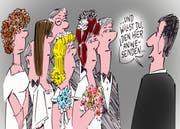 Schlangestehen beim Zivilstandsamt. (Karikatur Jals/Neue LZ)