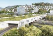 Das Siegerprojekt für das Bypass-Portal in Kriens enthält ein sogenanntes Brückenhaus. (Bild: Visusalisierung: Gemeinde Kriens)
