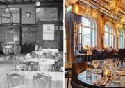Die damalige Gaststube (1943) und das heutige Restaurant. (Bild: Hotel Archiv Schweiz und Gabiel Ammon / Aura)