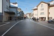 So soll das Portal zur Tempo-30-Zone beim Dorfplatz dereinst aussehen. (Bild: Visualisierung PD)