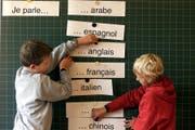 Schüler stellen dar, was sie alles sprechen. (Bild: Archiv Zuger Zeitung)