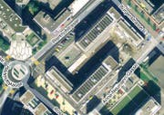 Blick von oben auf die betroffene Überbauung in der Tribschenstadt. (Bild mapsearch.ch)
