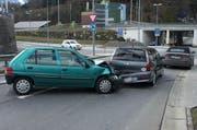 Blick auf die Unfallstelle in Seewen. (Bild Kapo Schwyz)