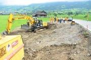 Der Einfahrtsbereich der neuen Deponie in Schwyz, fotografiert anfangs Juli. (Bild: Bert Schnüriger / Neue SZ)