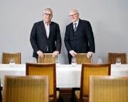 Felix Kalt (links) und Joseph Ruckli liegt das Zuger Gewerbe am Herzen. (Bild Stefan Kaiser)