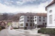 In Beckenried ist ein Begegnungszentrum geplant - das Siegerprojekt Kunigunde Luzern kommt am 27. November an die Urne. (Bild: Visualisierung: Hodel Clauss Merz Architekten)