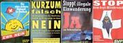 Abstimmungsplakate der SVP, von links: gegen den EWR-Beitritt der Schweiz 1992, gegen eine Fixerstube in Luzern 1993, gegen die illegale Einwanderung in die Schweiz 1996 und gegen den Asylmissbrauch in der Schweiz 1999. (Bilder: ArchivSVP)