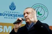 Der türkische Präsident Recep Tayyip Erdogan an einer Wahlkampfveranstaltung. (Bild: Keystone)