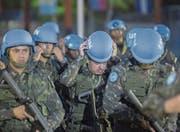 UNO-Blauhelmsoldaten aus Brasilien bei der offiziellen Verabschiedung in Haiti. (Bild: Junior Emmanuel/EPA (Port-au-Prince, 5. Oktober 2017))