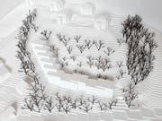 Modell des Siegerprojektes für den Bebauungsplan des Grundstücks Mülirain in Kriens. (Bild: PD)