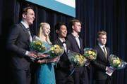 Die fünf besten Absolventen der Kantonsschule Zug, von links: Emanuel Zwyssig, Rahel Huwyler, Klemens Iten, Vincent van der Brugge und Valdemar Thanner.
