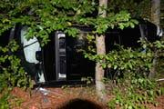 Das Auto blieb auf der Seite liegend im Gehölz stecken. (Bild: Luzerner Polizei)