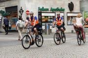 Die Velopolizisten stehen seit Montag in der Stadt Luzern im Einsatz. (Bild: Luzener Polizei)