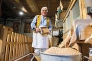 In seinem Element: Josef Müller (74) in der historischen Mühle im Schongiland. Bild: Dominik Wunderli (Schongau, 21. Oktober 2016)