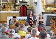 Musizierten in der Wallfahrtskirche St. Ultrich in Oberschongau: (von links) Naoki Kitaya, Richard Helm und Marina Bärtsch.