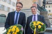 Die neu gewählten Regierungsräte Urs Janett von der FDP (links) und Dimitri Moretti von der SP. (Bild: Keystone / Urs Flüeler)