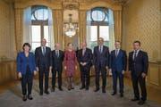 Der Bundesrat mit Ignazio Cassis (neben Bundeskanzler Walter Thurnherr ganz rechts). (Bild: Karl-Heinz Hug/Key (Bern, 20. September 2017))