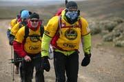 Thomas Gasser, Andrea Huser, Alex Gisler, Bernhard Hug (von hinten) hatten teilweise mit starkem Gegenwind zu kämpfen. (Bild Tony Hoare)