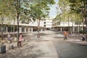 Aussenansicht des geplanten neuen Schulhauses Staffeln. (Bild: Visualisierung nightnurse images)