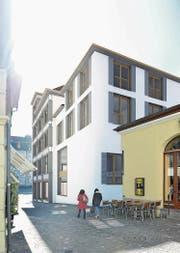 Der Neubau, gesehen aus Richtung Sternenplatz. Links die Hans-Holbein-Gasse. (Bild: Visualisierung Newport)