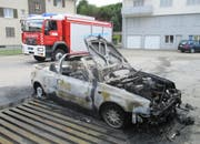 Die Feuerwehr Schötz im Einsatz: Sie musste 2015 den Brand dieses Autos löschen. (Bild Feuerwehr Schötz)