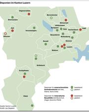 Die geplanten und bestehenden Deponien im Kanton Luzern. (Bild: Lea Siegwart)