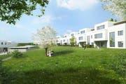 So sollen die 56 Eigentumswohnungen der Überbauung Kirschgarten in Schenkon dereinst aussehen. (Bild: Visualisierung PD)