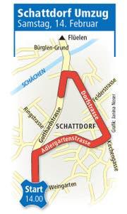 Umzugsroute am 14. Februar in Schattdorf. (Bild: Grafik: Janina Noser)