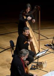 Jordi Savall (vorne) spielte seine Gambe virtuos, begleitet von einer Gitarristengruppe und Harfenist Andrew Lawrence-King. (Bild: Nadia Schärli)