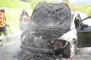 Das ausgebrannte Auto auf der Moosstrasse in Bennau. (Bild: Kapo Schwyz)