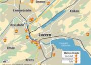 Die Karte zeigt, wo der ehemalige Feuerwehrmann zwischen den Jahren 2000 und 2008 Brände gelegt hat. (Bild: Grafik Neue LZ)